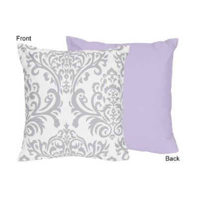 Lavender, Grey and White Damask Print Elizabeth Decorative Accent Throw Pillow for a Girl Bedding