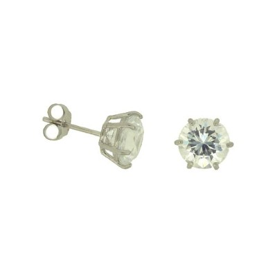 イヤリングAdara 9 ct White Gold 7 mm Brilliant Cut Cubic Zirconia Six Claw Studs[並行輸入品]