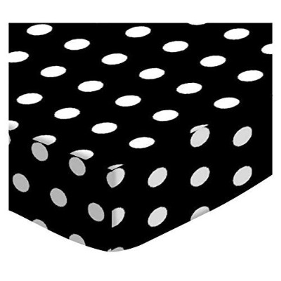 SheetWorld PC-W910 PC-W910 Fitted Portable / Mini Crib Sheet - Polka Dots Black - Made In USA by sheetworld