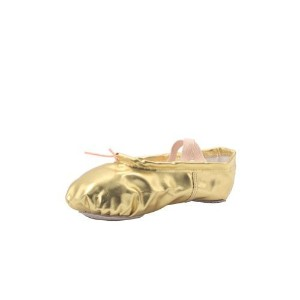MSMAX Girl's Pu Ballet Dancing Shoes with Split Soft Sole,Gold,9 M US by MSMAX