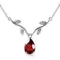"K14 White Gold 18"" Drop Necklace with Genuine Diamonds and Pear-shaped Natural Garnet"