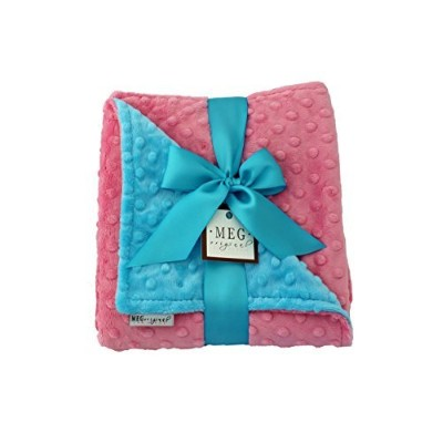MEG Original Minky Dot Baby Girl Blanket, Paris Pink & Turquoise by MEG Original