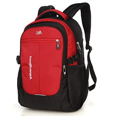 ASPENSPORT パソコンバックパック Laptop Backpack ビジネス リュック 高校生 登山 出張 旅行かばん 通学通勤 スポーツ ギフト 黒/レッド AS-B36B/R