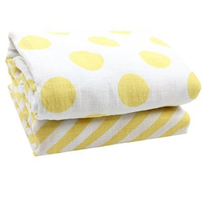 juDanzy 100% Cotton Swaddle Set of 2 Large 45X45 Muslin Baby Girl or Boy Blankets (Sunshine Chevron...
