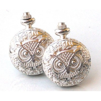 スチームパンクフクロウ – Pocket Watch Cufflinks Cuff Links Steam Punk Shinyシルバー