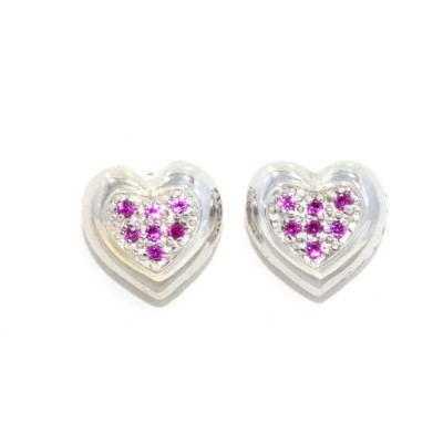 Created Ruby Always & Forever Engraving Heart Stud Earrings .925 Sterling Silver Rhodium Finish