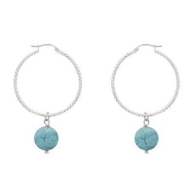 Bloomingライト–イヤリング–925シルバーLarge Hoops With Turquoisebeads