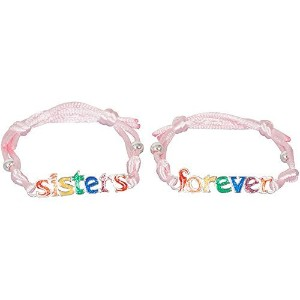 Sisters Forever Rainbow Glitterブレスレットセットピンクサテンfor Teens