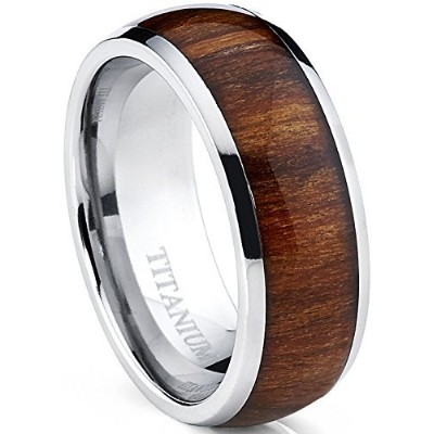 (R 1/2) - Ultimate Metals Co. Titanium Ring Wedding Band, Engagement Ring Real Wood Inlay, 8mm...