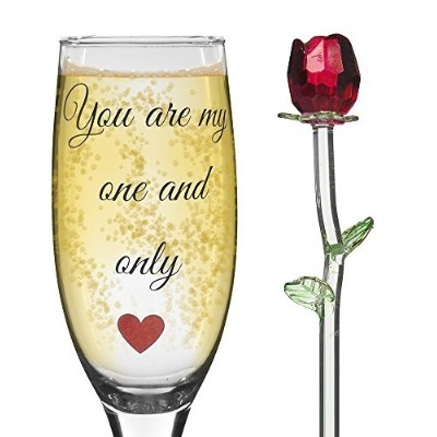 Romantic Champagne Flute And Crystal Red Rose Gift Set - You Are My One and Only - Standard Clear...
