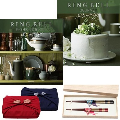 CONCENT リンベル RING BELL カタログギフト ネプチューン&トリトン+箸二膳(桜草) ※風呂敷:赤色