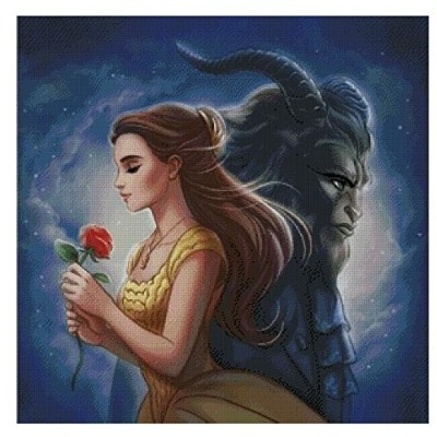 the beauty and the beast counted cross stitch kits 14 ct,300x300 stitch 54x54cm 美女と野獣 、クロスステッチキット300...