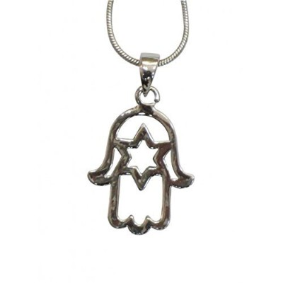 Religious Jewish Hamsa Hand with Star of David内側ペンダントネックレスシルバー