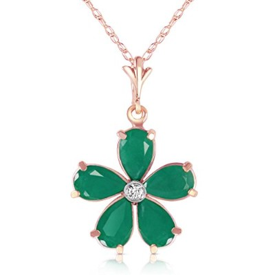"K14 Rose Gold 18"" Necklace with Emeralds and Diamond Flower Pendant"