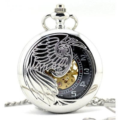 Infinite U HollowスケルトンEagle / Angel / PhoenixペンダントネックレススチールMechanical Pocket Watch