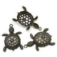 PEPPERLONELY Brand 5 Piece Antique Bronze Hollow Charm Pendants Tortoise/ Turtle Animal 5.7x3.9cm(2...