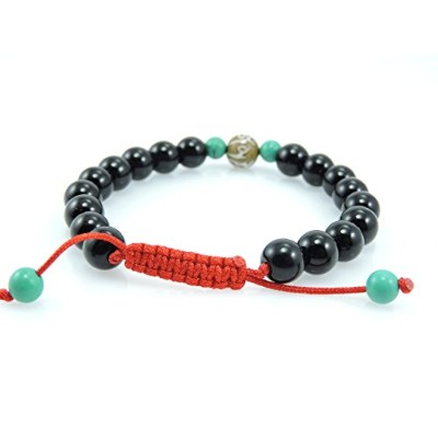 Hands Of Tibet Tibetan Mala Black Onyx Wrist Bracelet With Carved Om Mani Conch Shell And Turquoise...