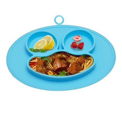 (new blue) - URSMART Toddler Plates, One-Piece Baby Plate for Babies Toddlers and Kids, Portable...