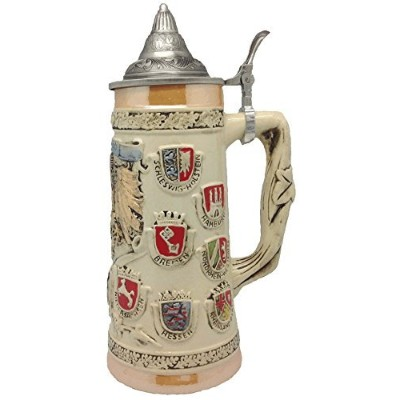 German Coat of Arms Collectible Engraved Beer Stein with Ornate Metal Lid