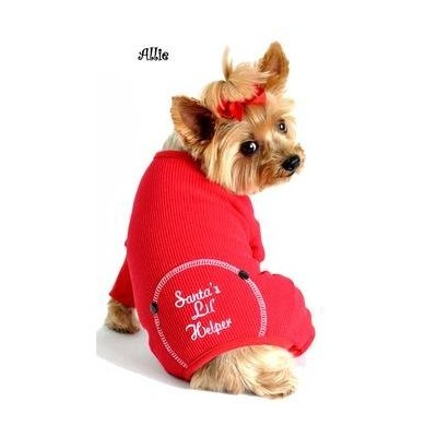 SANTA'S LIL HELPER - EMBROIDERED COTTON THERMAL PAJAMAS - ALL SIZES (XS) by Doggie Design