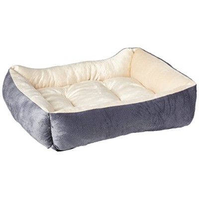 HappyCare Textiles HCT REC-002 Luxury Embossed Rectangle Micro Mink Dog and Pet Bed, Burn Out Grey...