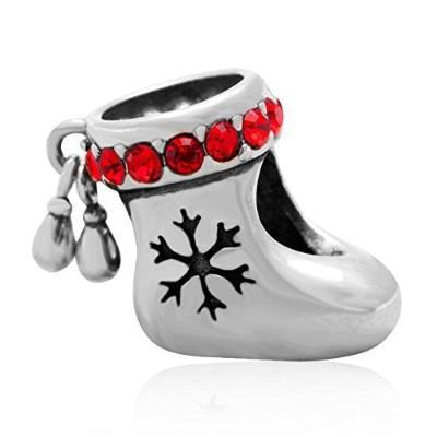 (Red Crystal) - Choruslove Genuine 925 Sterling Silver Christmas Stocking Red Crystal Charm Bead...