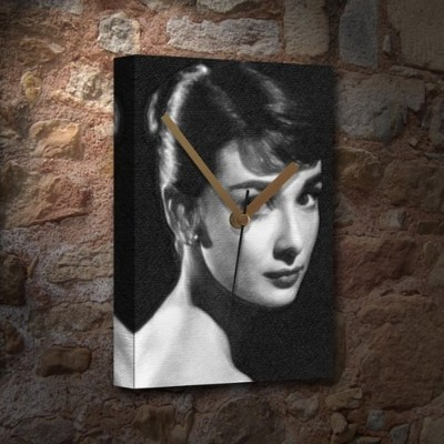 AUDREY HEPBURN - Canvas Clock (LARGE A3 - Signed by the Artist) #js001