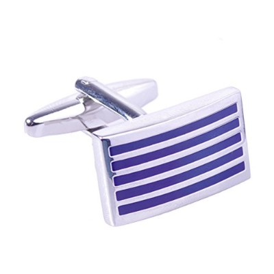 (Royalblue) - Salutto Men's Five Striped Cufflinks with Gift Box
