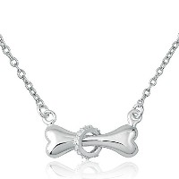 LovelyJewelryシルバーメッキ子犬犬ボーンwith合成クリスタルリングPendnatネックレスfor