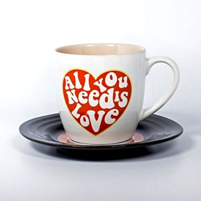 Lennon & McCartney LMMUGLOVE1 Love Heart Lyrical Mug and Saucer Set, Multicolor