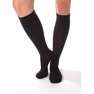Compression Socks For Men Firm Graduated Support 20-30 mmHg Closed Toe Black Large Absolute Support...