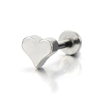 Steel Heart Lip Stud Ring Piercing Labret Monroe Bar Chin Tragus Body Jewellery