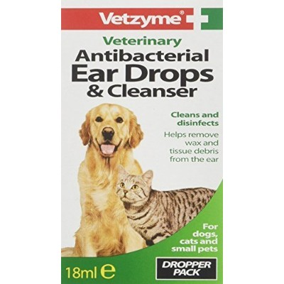 Vetzyme Pet Anti-bacterial Ear Drops & Cleanser 18ml by Bob Martin (UK) Ltd [並行輸入品]