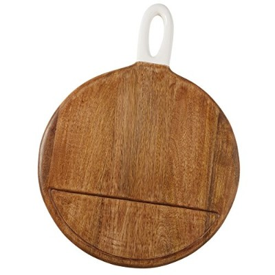 Mud Pie 4751076 Sectioned Round Wood Serving Board, Brown