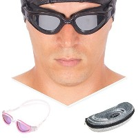 "AqtivAqua® ""Poseidon"" POLARIZED Premium Swimming Goggles for Adult Men Women (Pink&White)"
