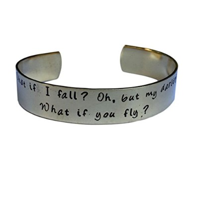 What If I FallがOh My Darling What If You Fly |手Stamped | Encouragement Cuff Inspirational Jewelr