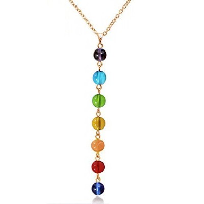 (Fashion Chakra Necklace (Synthetic)) - BellaMira Chakra - Necklace Pendulum - Genuine Rose Quartz...