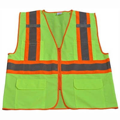 Petra Roc LV2-CB1-L-XL Safety Vest Ansi Class Ii Lime Solid Contrast Binding44; Large & Extra Large