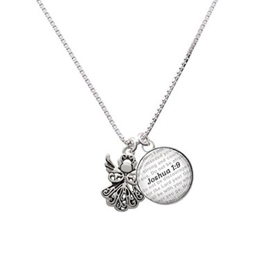 "Silvertone Angel – Bible verse Joshua 1 : 9ガラスドームNecklace , 18 "" + 2 """