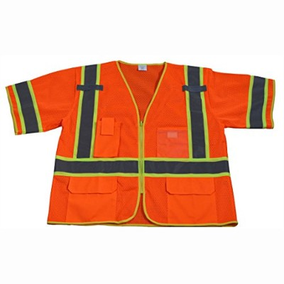 Petra Roc OVM3-CB1-S-M Safety Vest Ansi Class 3 Orange Mesh Deluxe with Lime Contrast Binding44;...