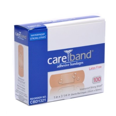 Care Band Waterproof Adhesive Bandages 1x3 100/box by Careband