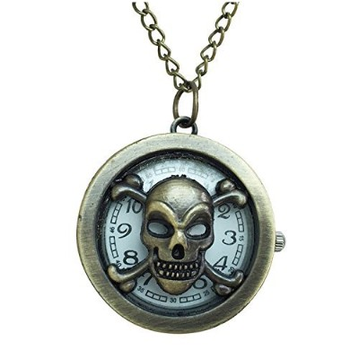 Pirate Inspiredフロント開口部Watchペンダントネックレスwith Skull and Cross Bones