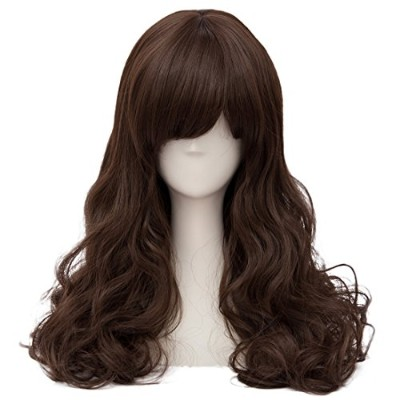 (Dark Brown) - TOP-MAX Deep Brown Long 60cm Curly Heat Resistant Cosplay Wig Fashion Lolita Lady