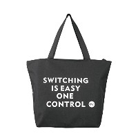 One Control Switching is Easy プリント ブラック ファスナー付きトートバッグ
