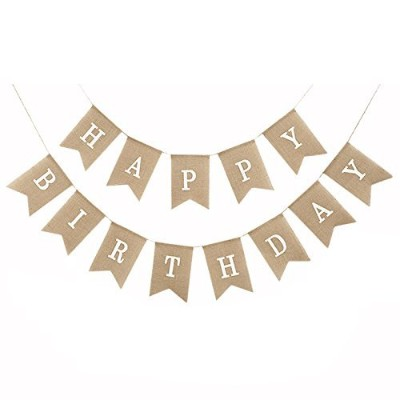 (White) - Uniwish Happy Birthday Banner Party Decorations, Rustic Burlap Bunting Swallowtail Flags, 2 in 1