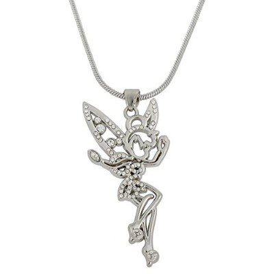 Adorable Tinkerbell Fairy Angel withクリスタル翼ペンダントネックレスfor Teen Girls & Wowen