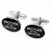 mgstyle Cufflinks for Men Brother of the Groom花嫁楕円形エナメル銅線ブラックシルバースーツシャツビジネスプレゼントウェディングギフト