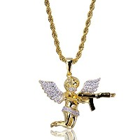 topgrillz 14K ICED OUT CZ天使ペンダントネックレスwith Gun Pistolロープチェーン