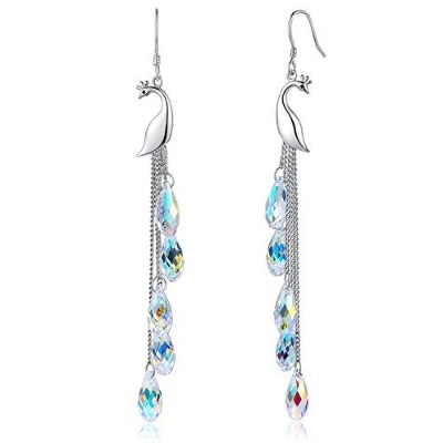 Desimtion Sterling Silver Peacock Dangle Earrings With Swarovski Crystal, Jewelry Gift for Women...