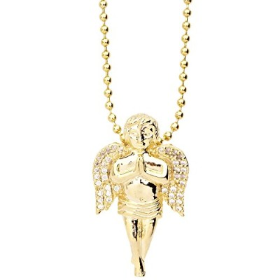 Iced Out Bling Micro Pave ペンダント - MINI ANGEL ゴールド